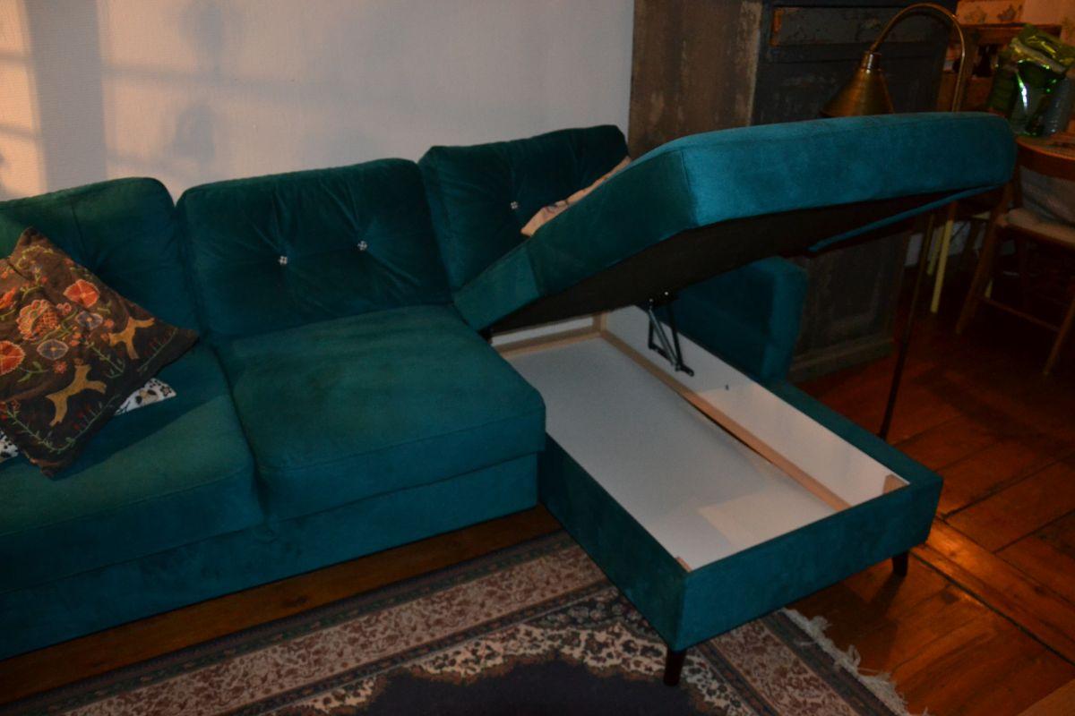 joli canape d 39 angle bleu convertible neuf luckyfind. Black Bedroom Furniture Sets. Home Design Ideas