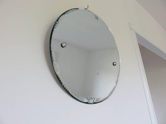 Ancien grand miroir rond biseaut avec corde ann es 60 - Miroir rond avec corde ...