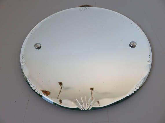 Ancien grand miroir rond biseaut avec corde ann es 60 for Tres grand miroir rond