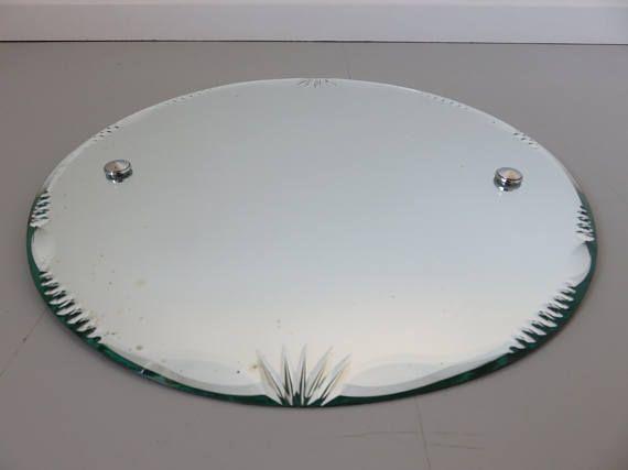 Ancien grand miroir rond biseaut avec corde ann es 60 for Argenture miroir