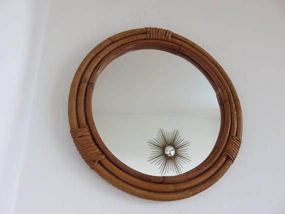 Miroir en rotin bambou rond ann es 60 70 luckyfind for Miroir rond en rotin