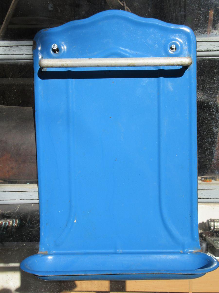 Porte ustensile en t le bleu 50 cm x 35 cm porte louche for Porte ustensile
