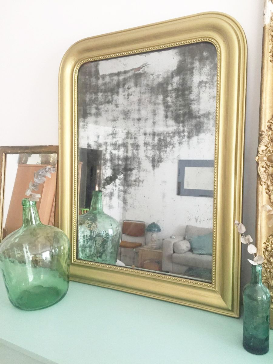 Grand miroir dor haussmanien louis philippe luckyfind for Grand miroir dore