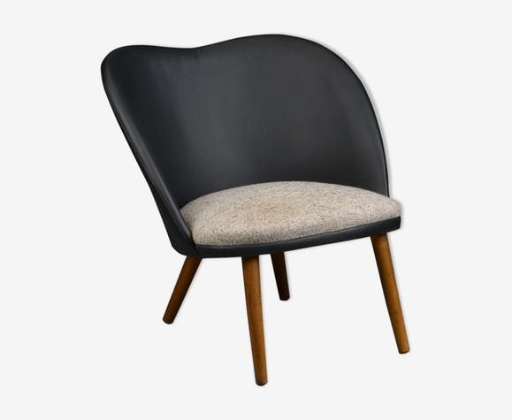 7777329c53acb fauteuil en cuir, laine & hêtre – Luckyfind