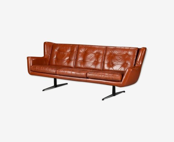 canap trois places en cuir skjold sorensen luckyfind. Black Bedroom Furniture Sets. Home Design Ideas