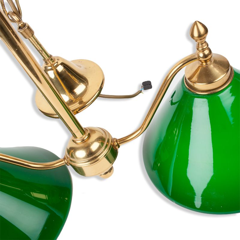 lustre billard vintage deux lampes opaline verte luckyfind. Black Bedroom Furniture Sets. Home Design Ideas