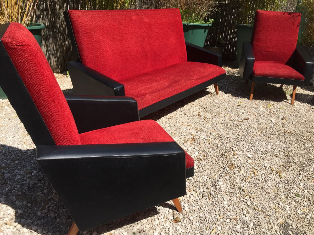 canap fauteuil vintage ann es 50 60 velours rouge ska. Black Bedroom Furniture Sets. Home Design Ideas