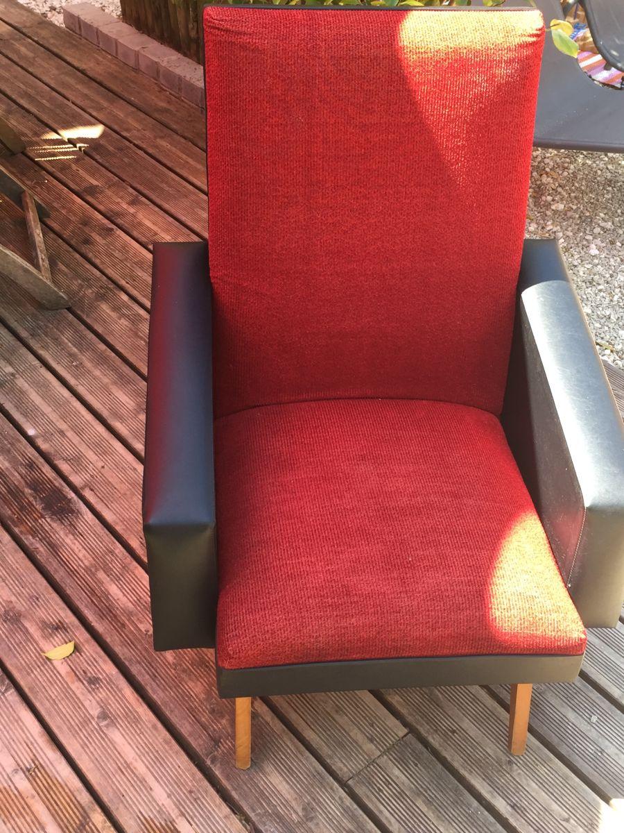 canap fauteuil vintage ann es 50 60 velours rouge ska noir luckyfind. Black Bedroom Furniture Sets. Home Design Ideas