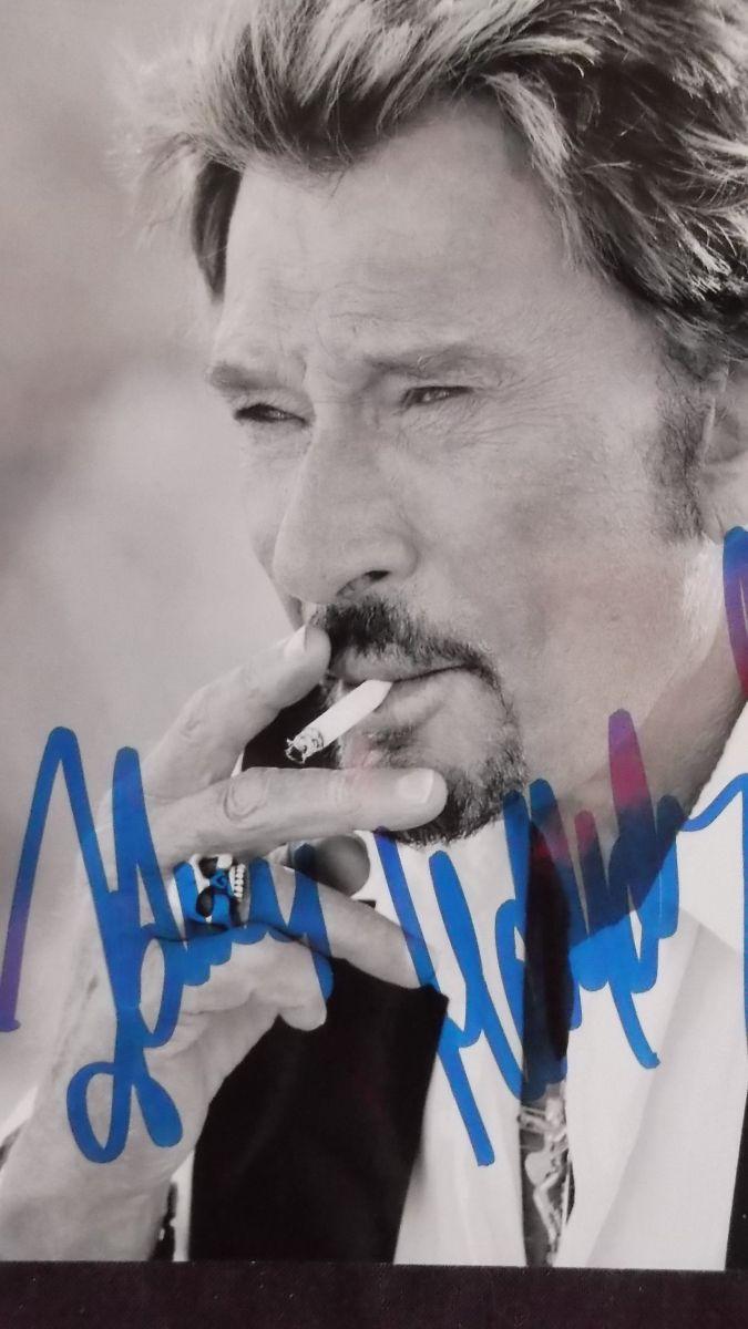 Photo Noir Et Blanc Signee Johnny Hallyday Excellent Etat 10