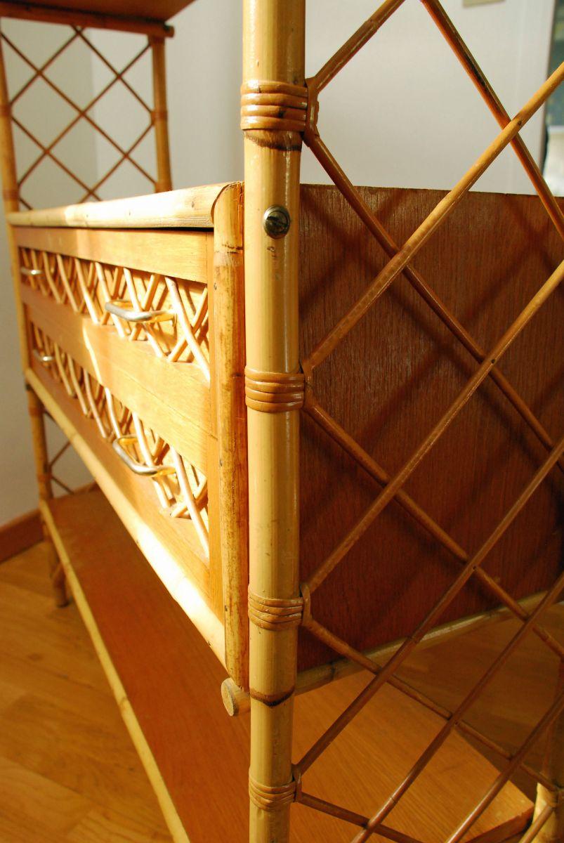 etag re en bois rotin et bambou vintage luckyfind. Black Bedroom Furniture Sets. Home Design Ideas
