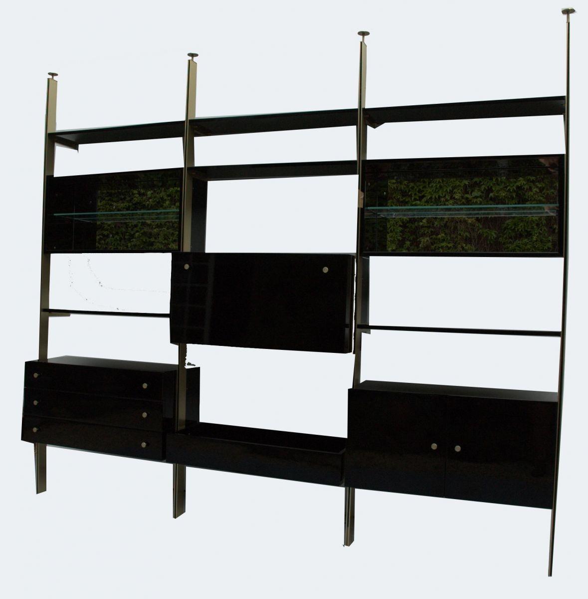 biblioth que tag res en laque et laiton roche bobois 1970s luckyfind. Black Bedroom Furniture Sets. Home Design Ideas