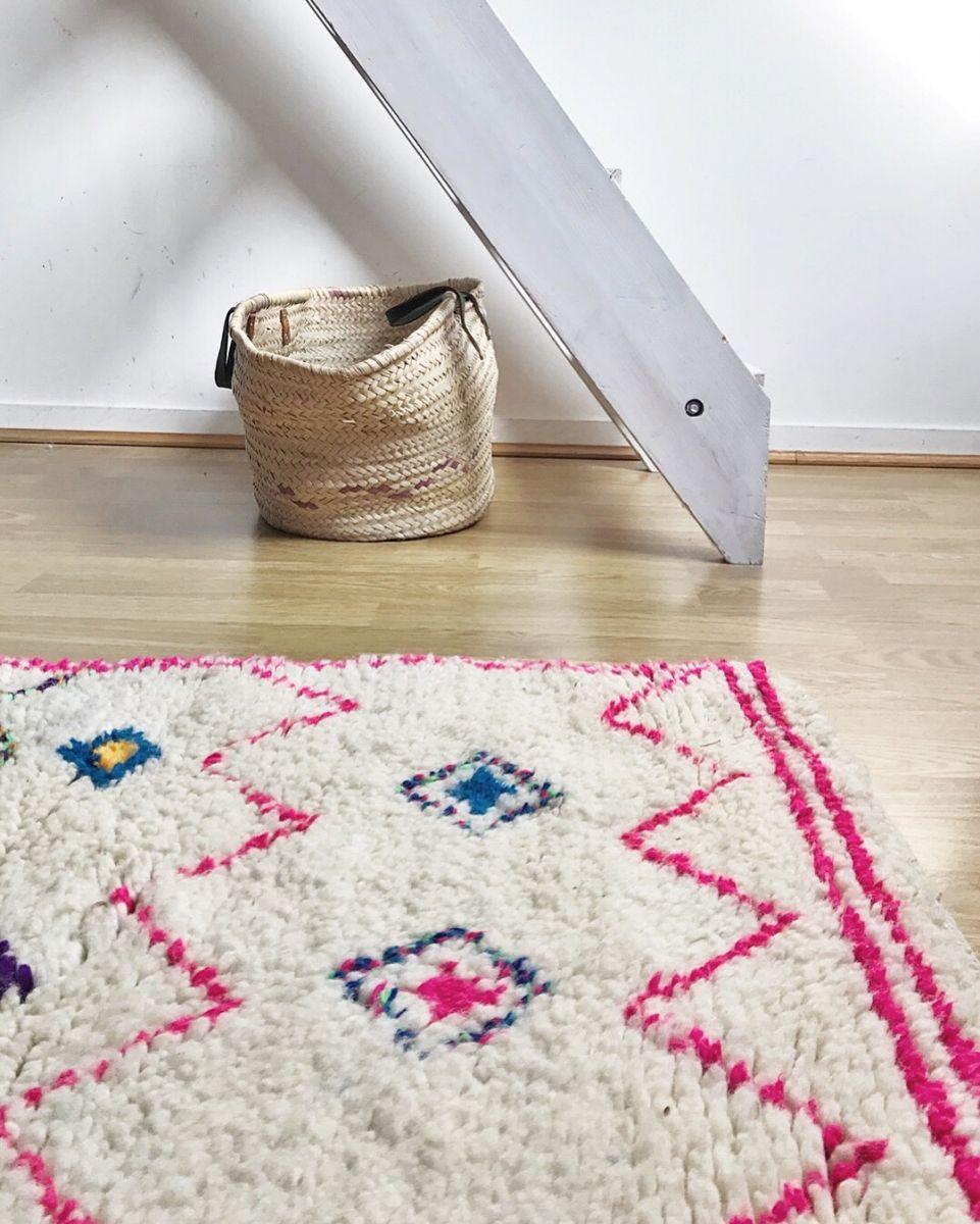 tapis berbère beni ouarain rose – luckyfind