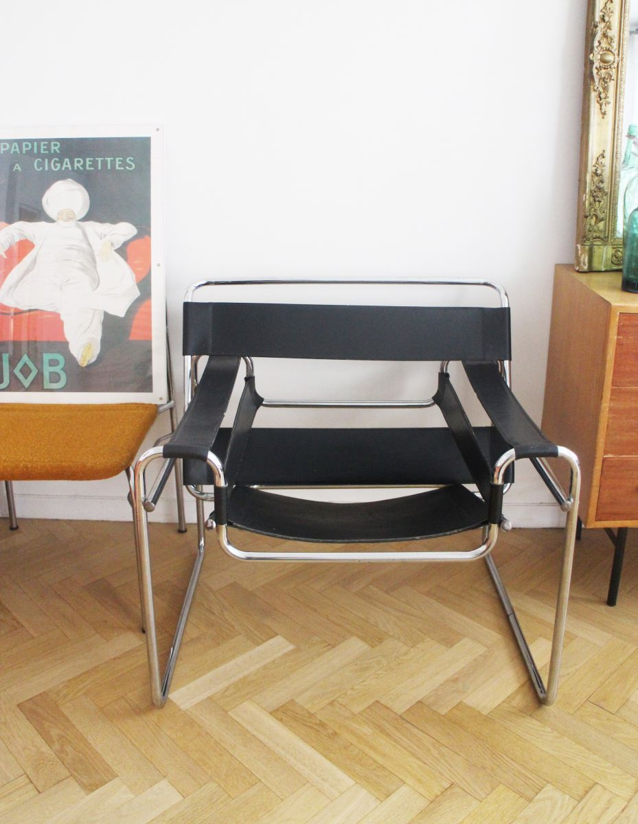 fauteuil wassily b3 marcel breuer pour gavina luckyfind. Black Bedroom Furniture Sets. Home Design Ideas