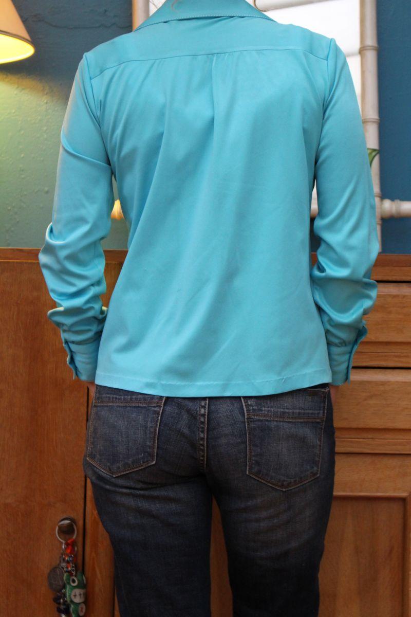 chemise bleu azure t36 38 vintage retro ann e 70 luckyfind. Black Bedroom Furniture Sets. Home Design Ideas