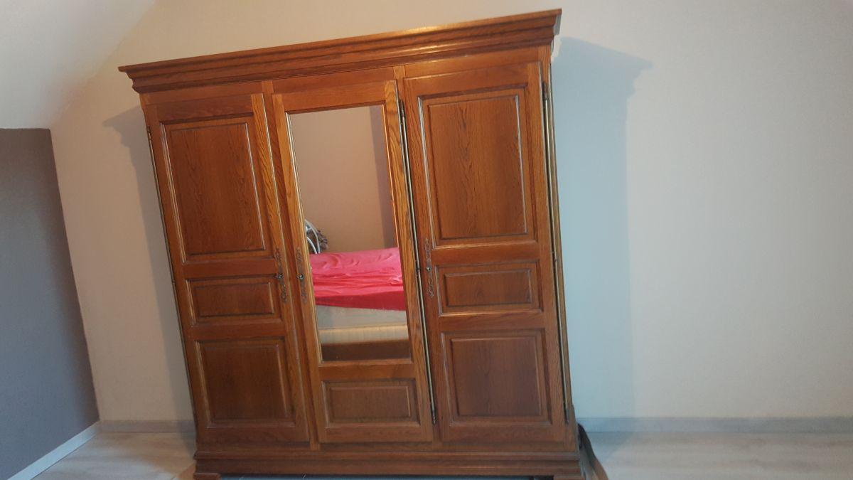 Armoire en chene 2 portes penderie 1 etagere 1 miroir - Armoire penderie 1 porte ...