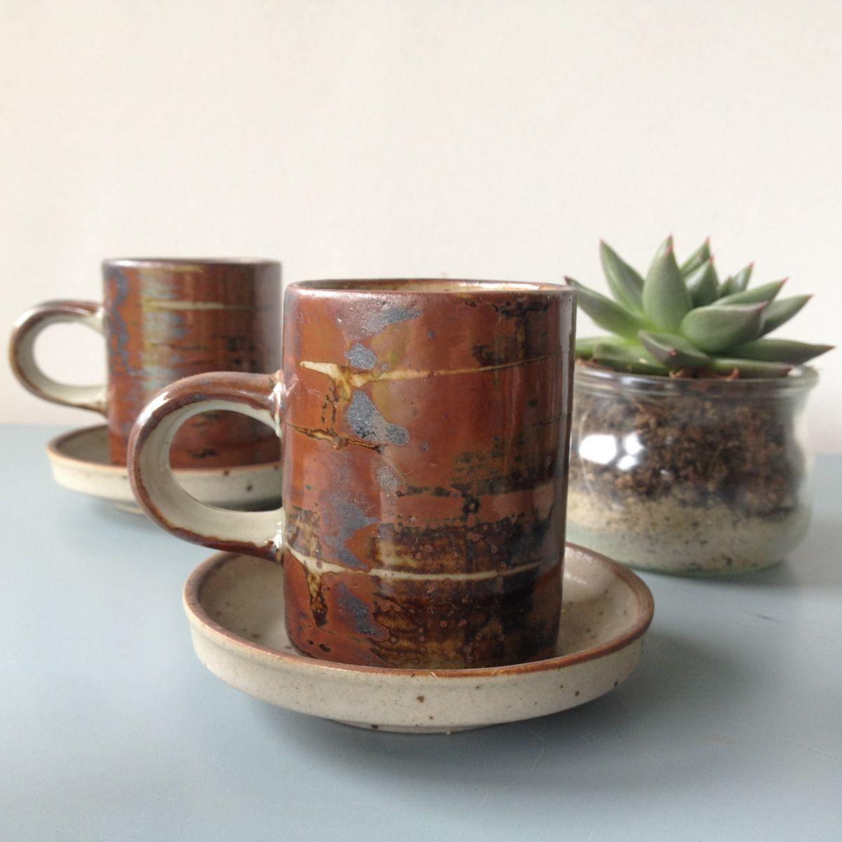 service de 6 tasses caf et soucoupes en gr s vintage. Black Bedroom Furniture Sets. Home Design Ideas