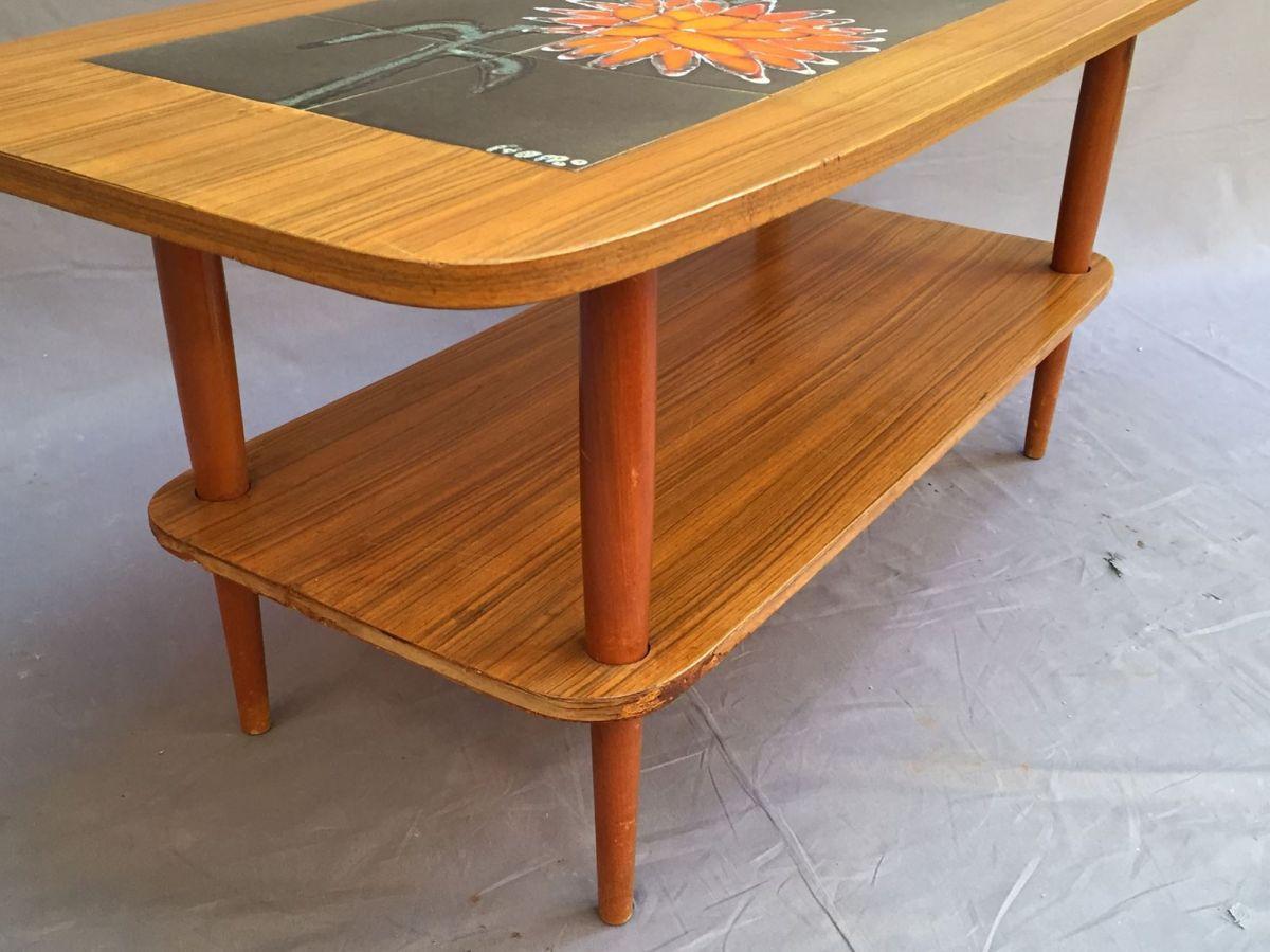 table basse en teck et vallauris ann es 70 luckyfind. Black Bedroom Furniture Sets. Home Design Ideas