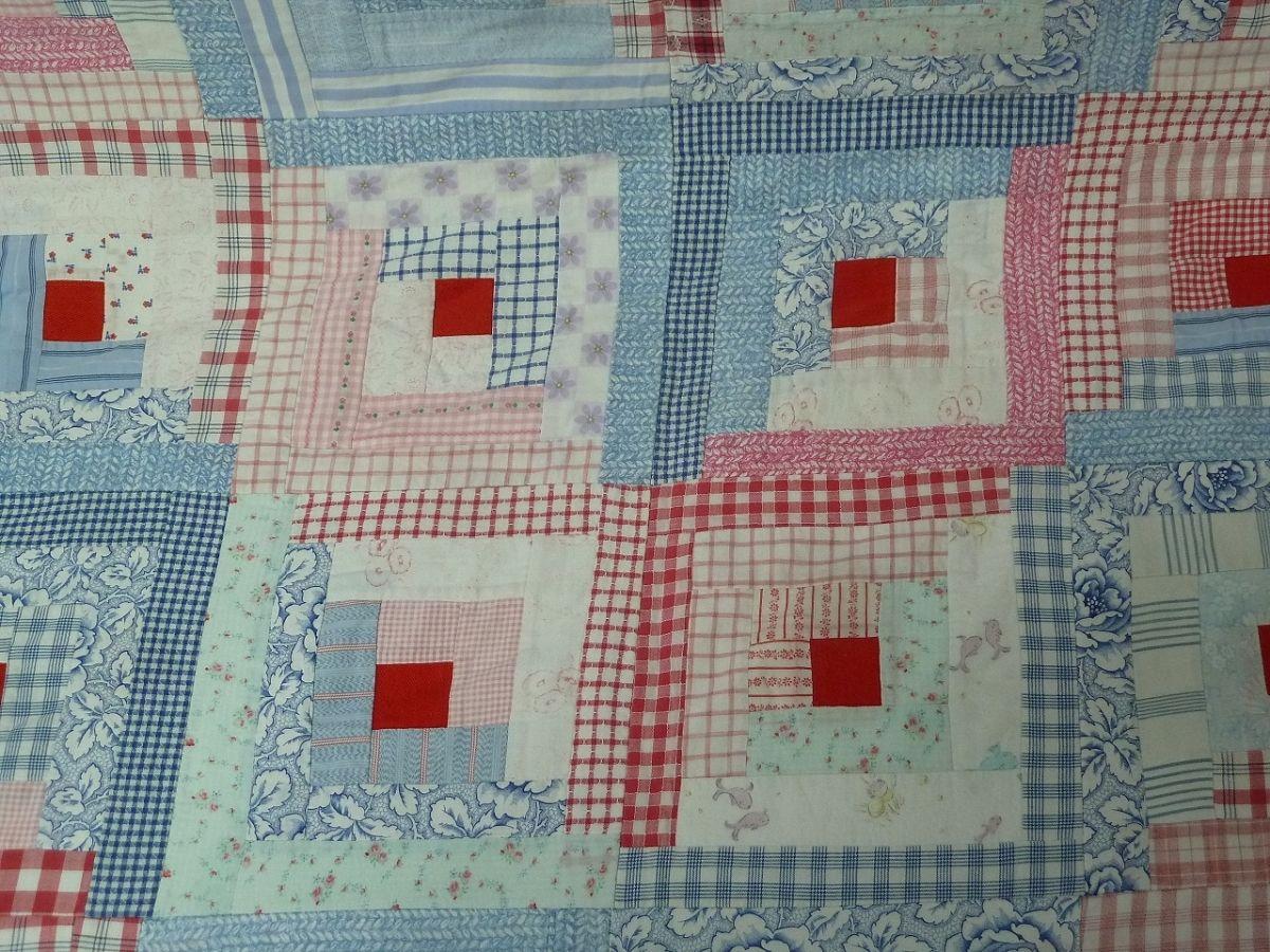 Dessus de lit patchwork fait main vintage luckyfind - Patchwork modele gratuit dessus de lit ...