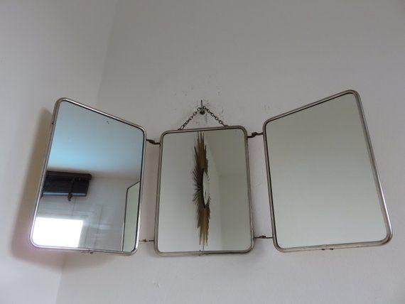 miroir de barbier triptyque ann es 50 60 luckyfind. Black Bedroom Furniture Sets. Home Design Ideas