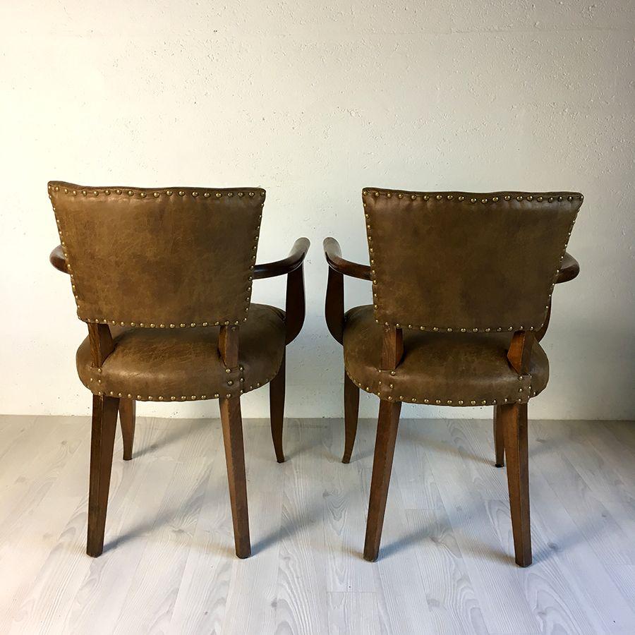 paire de fauteuils bridge en cuir vintage 50 39 s luckyfind. Black Bedroom Furniture Sets. Home Design Ideas