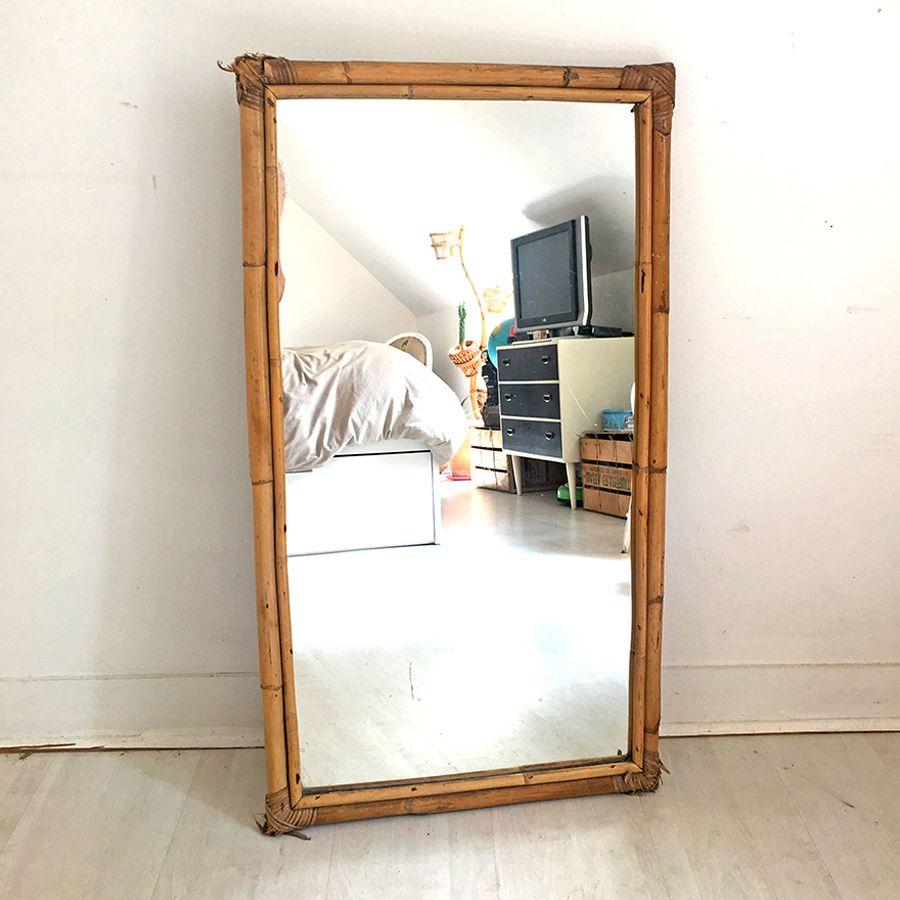 miroir en rotin vintage 60 39 s luckyfind. Black Bedroom Furniture Sets. Home Design Ideas