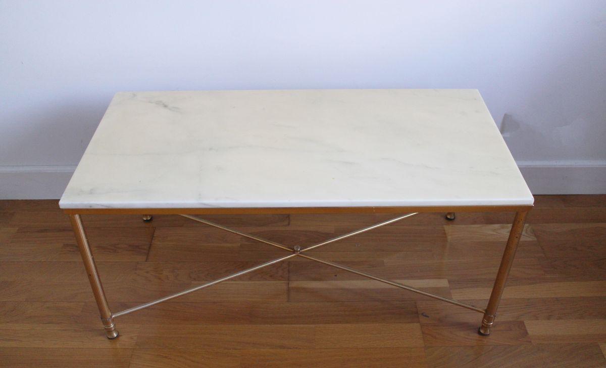 table basse en marbre pieds en laiton dor s luckyfind. Black Bedroom Furniture Sets. Home Design Ideas