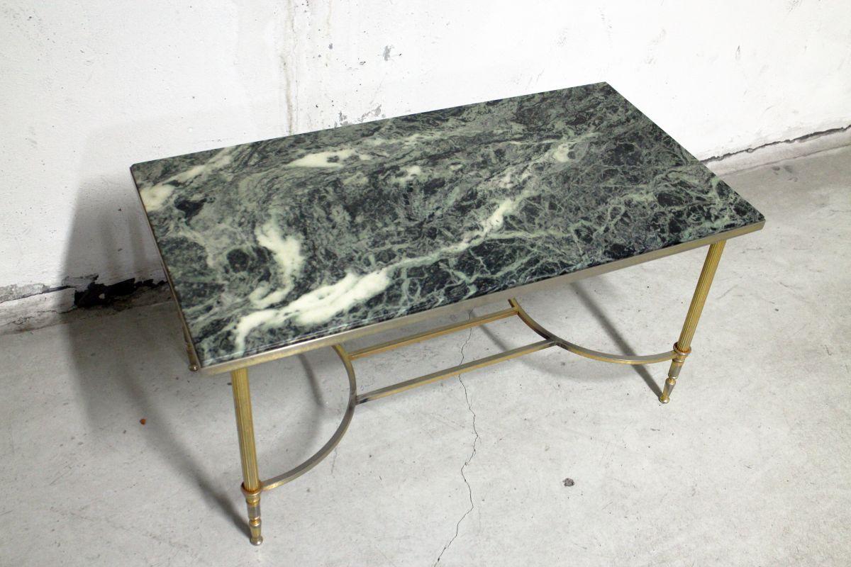 Table dorés pieds basse vert en laiton en marbre vintage EIYbD29HeW