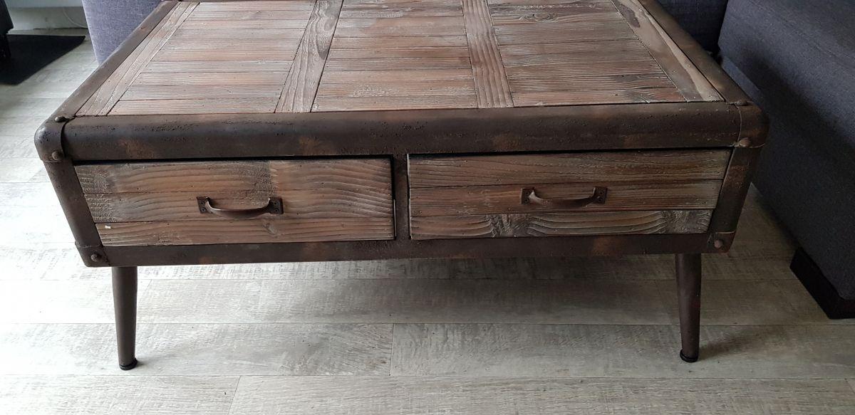 Table Basse Industrielle Neuve 100 61 46 Bois Metal 2 Tiroir