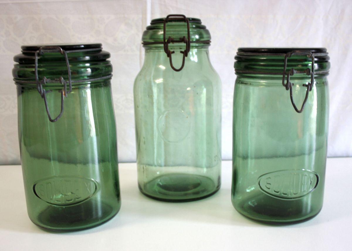 9b44d6606e Bocaux en verre vert (lot de 3) – années 50 – Luckyfind