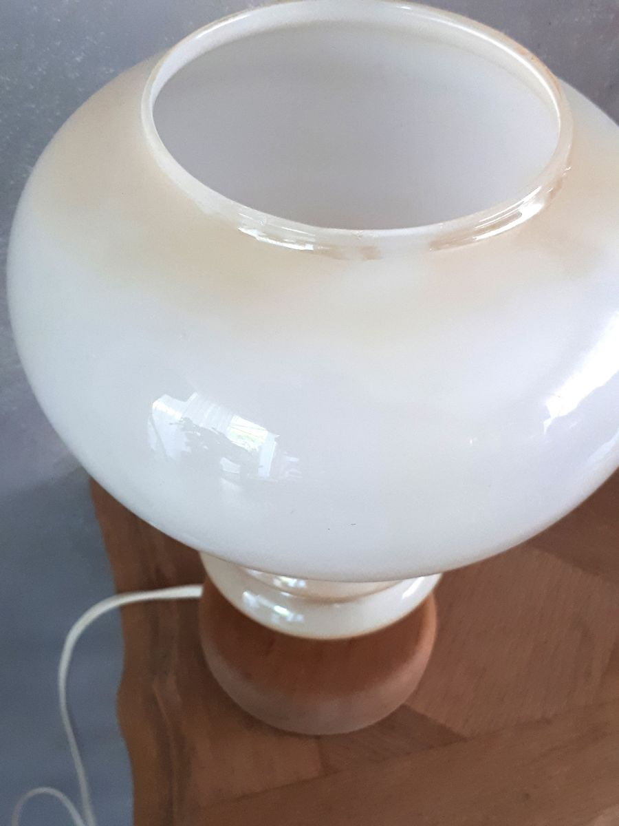 Lampe En Chevet Blanc De Ou Table Opaline Beige 1970 xtshrQCBd