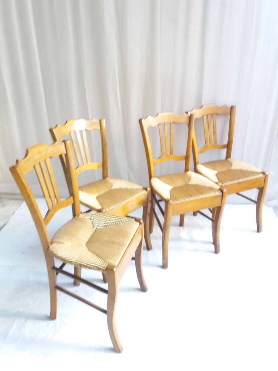 Style De Chaises Anciennes serie de 4 chaises anciennes paillees