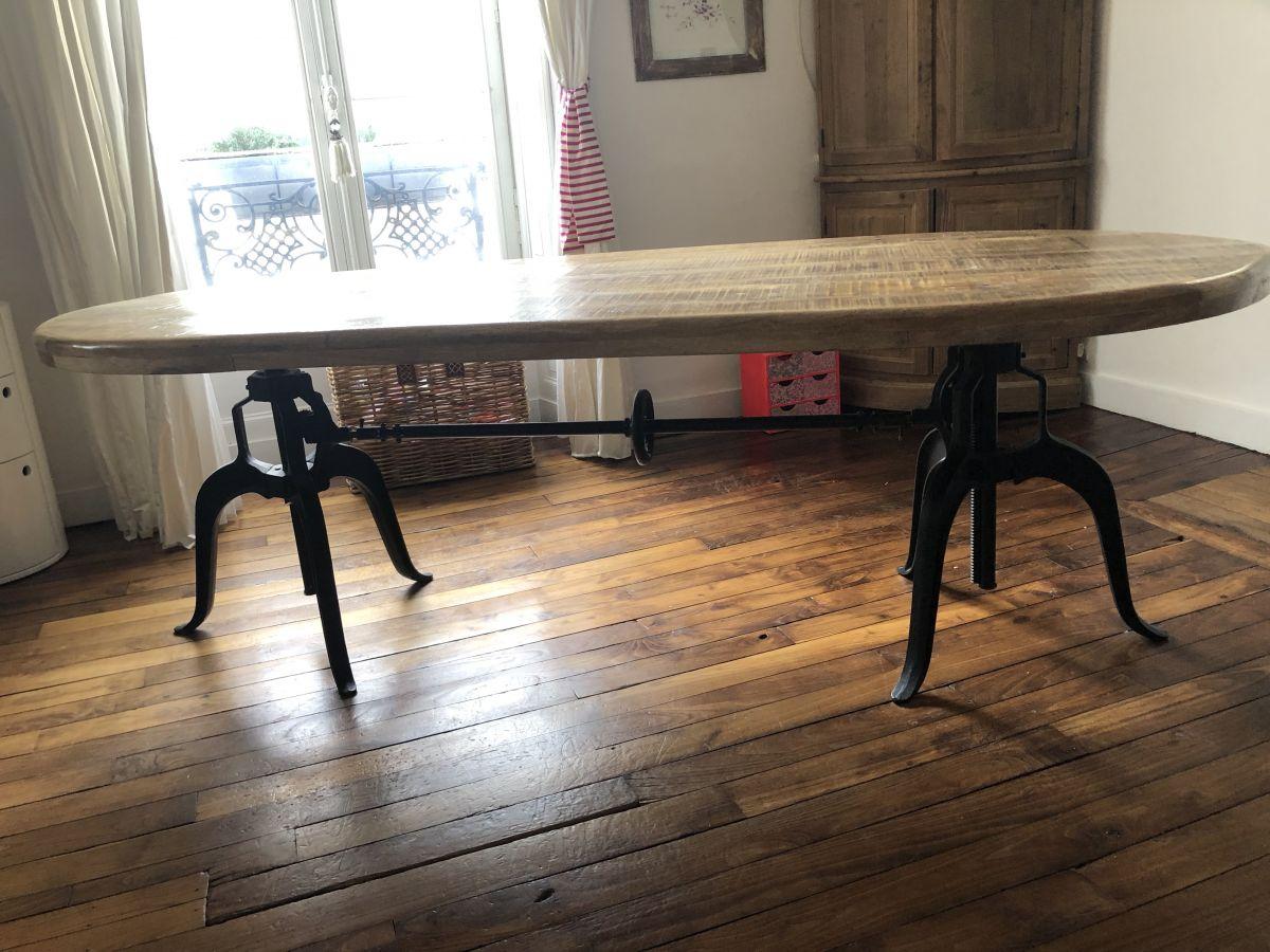 Table Industrielle Loft Metal Bois Hauteur Ajustable 235x100