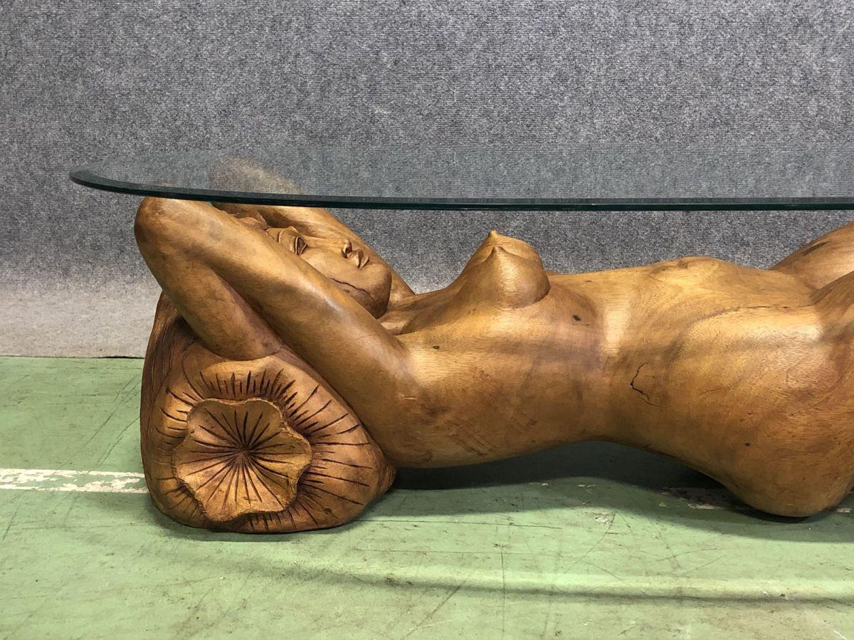 Table Basse En Bois Exotique Representant Une Femme Nue Luckyfind