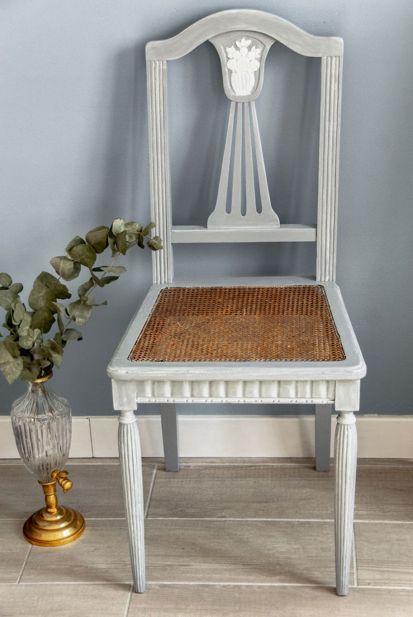 Extremement Chaise ancienne à lyre et assise cannage relookée – Luckyfind JE-21