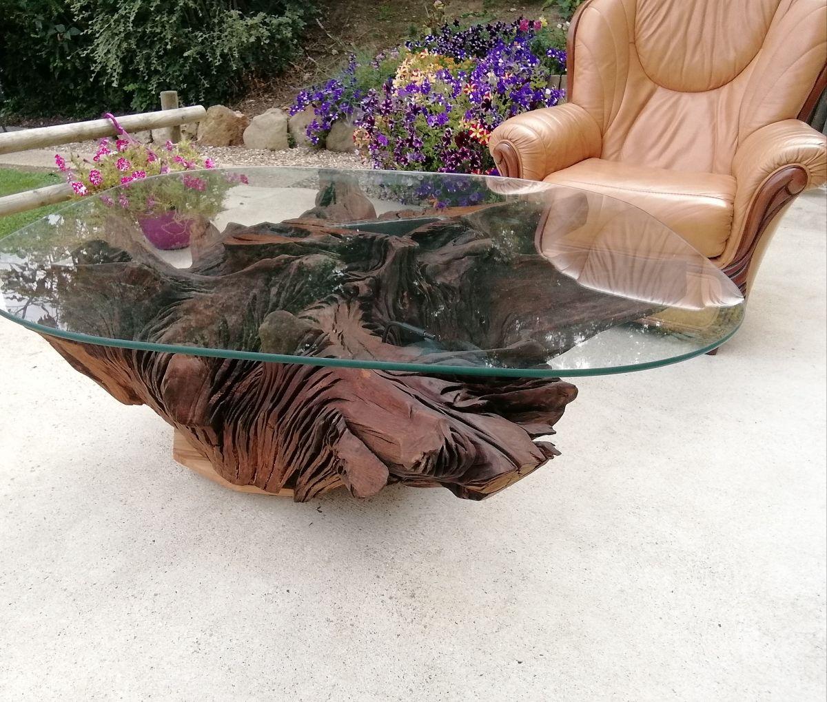 Table Basse Avec Souche D Arbre table basse souche en chêne – luckyfind