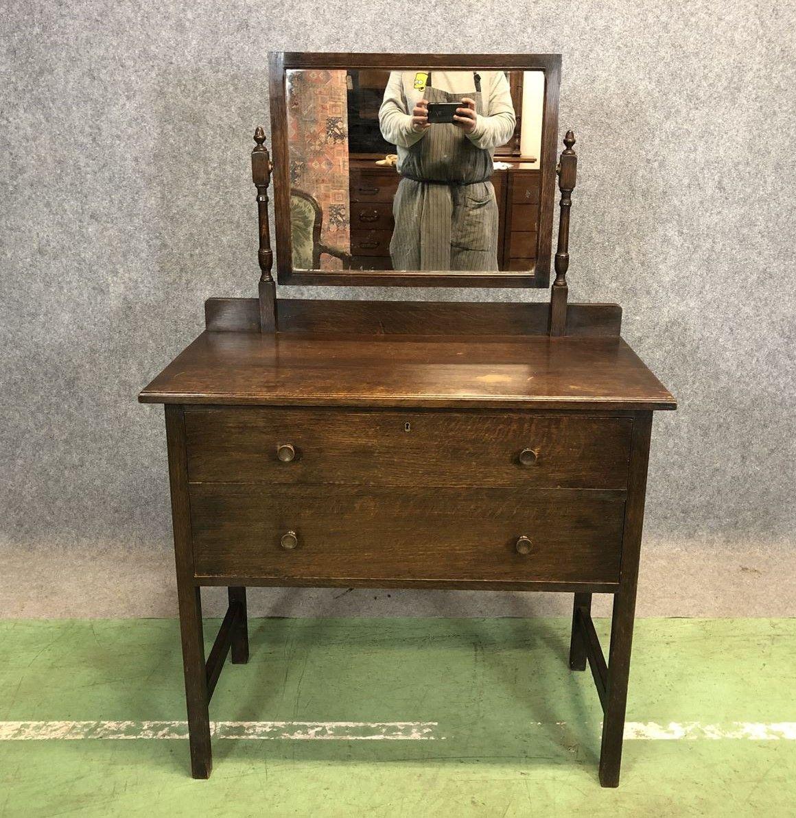 Dresser Une Table À L Anglaise coiffeuse anglaise du début xxème en chêne – luckyfind