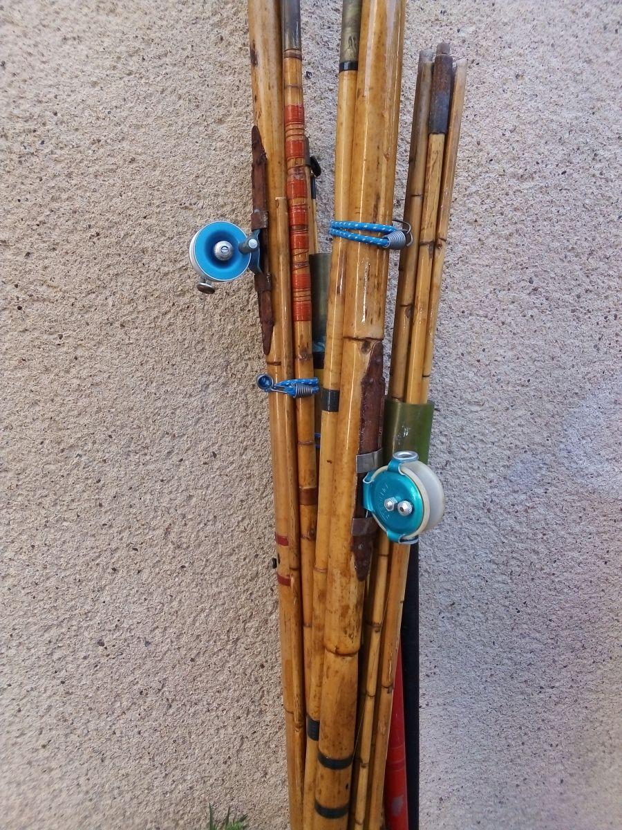 Canne A Peche Fait Maison lot de canne a peche en bambou avec molinet