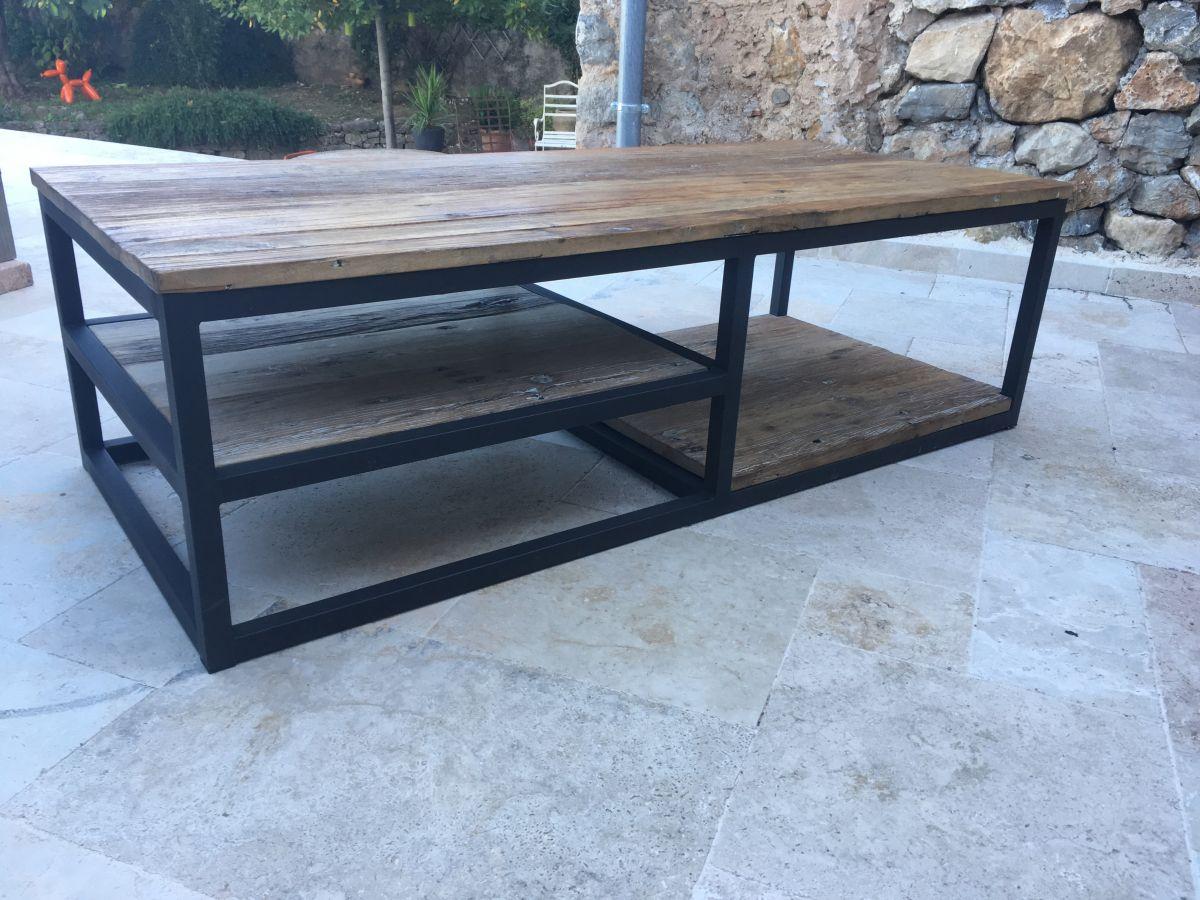 Grande Table Basse Bois grande table basse en bois massif et métal