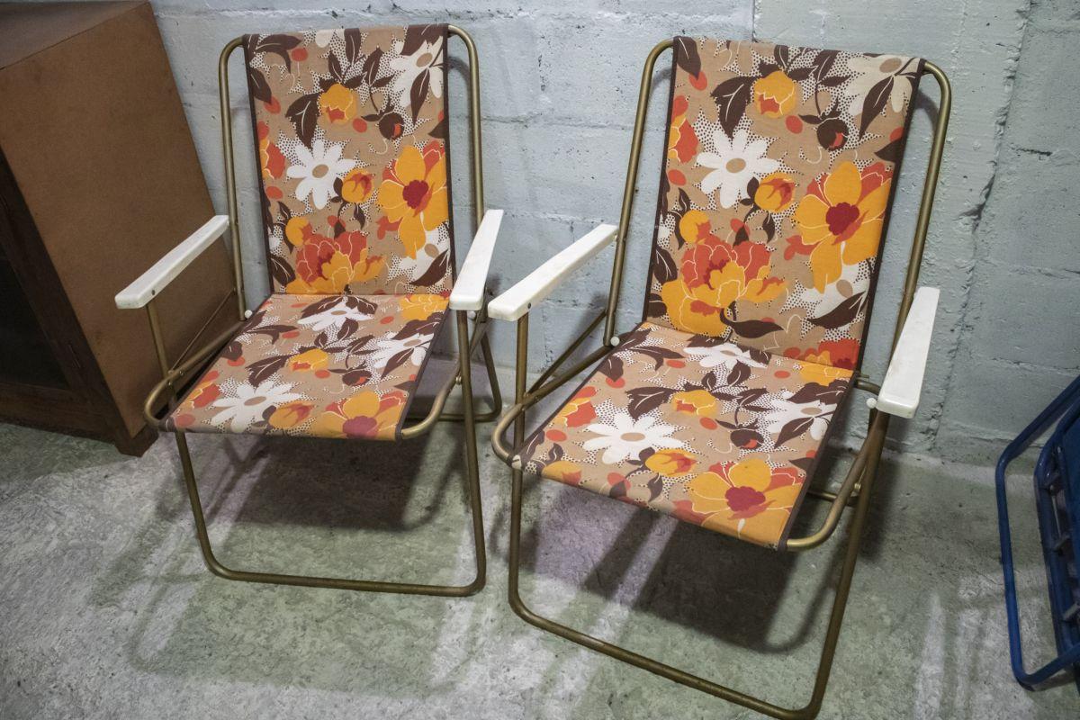Paire de chaises Lafuma, pliantes vintage