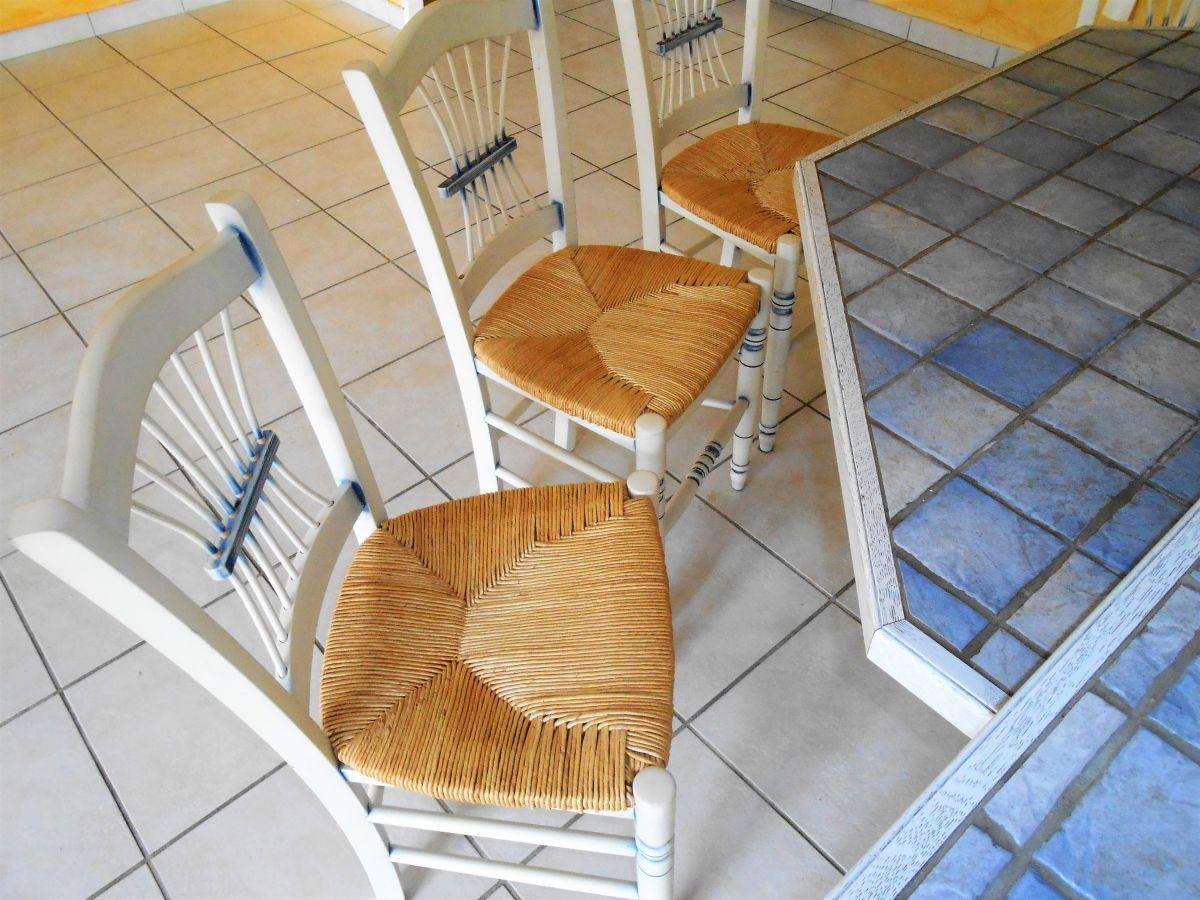 Cuisine Provencale Blanche Et Bleue 4 chaises paille style provençal cérusé bleu et blanc
