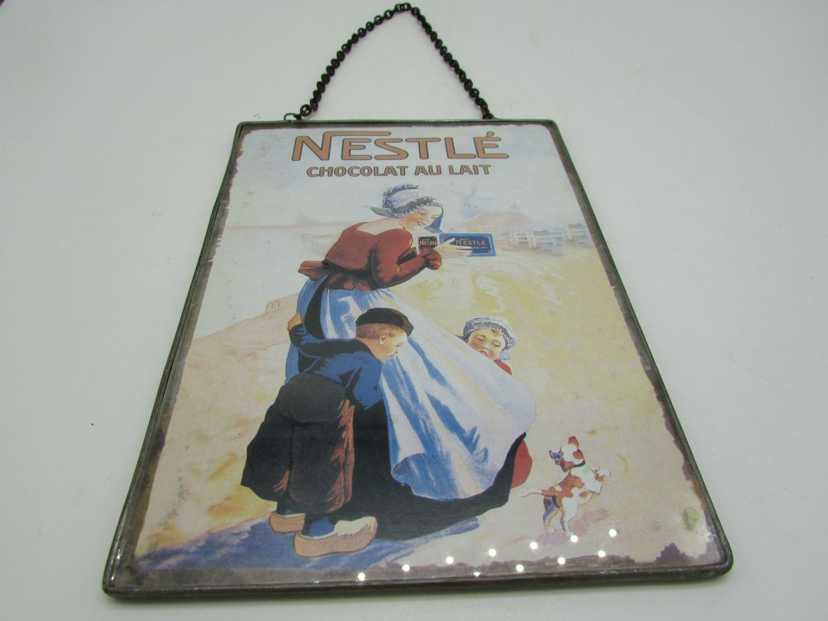 carte postale publicitaire chocolat Nestlé sous verre - Luckyfind