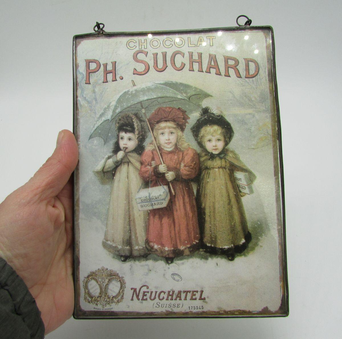 carte postale publicitaire chocolat Suchard sous verre - Luckyfind