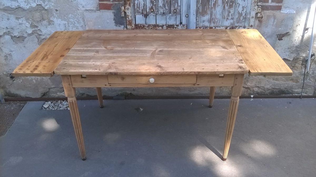 Ancienne table de ferme en sapin a rallonges