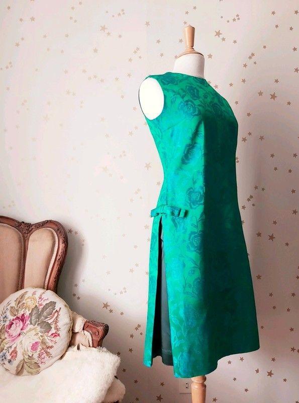 Vintage Annees 60 Robe Du Soir Soie Satin Jacquard Fleurie Luckyfind