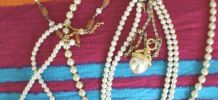 lot collier bijoux perle diamant fantaisie vintage retro