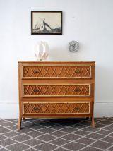 commode rotin vintage pied compas luckyfind. Black Bedroom Furniture Sets. Home Design Ideas