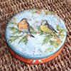 Boite ronde en métal oiseaux vintage