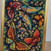 Tableau brodé vintage Papillons