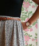 Marie-Lou - Jupe fluide plissée à petits motifs vintage
