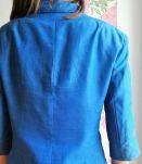 Aimée - Veste Jil Sanders cintrée en soie et laine bleu